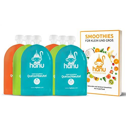 Hanu® wiederverwendbare Quetschies (6er Set) + exklusivem Rezeptbuch - FREI von BPA & PVC   Quetschbeutel wiederverwendbar für eine gesunde und umweltfreundliche Kinderernährung