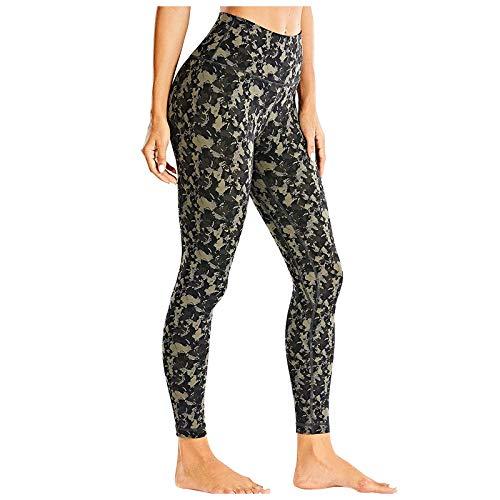 SHOBDW Pantalón Deportivo de Mujer Cintura Alta Leggings Elasticidad Mallas para Running Training Fitness Estiramiento Zumba Yoga y Pilates Pantalón Medio Patrón Multicolor(Verde,L)