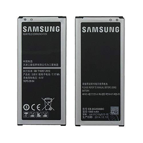 Samsung - Batteria OEM EB-BG850BBC EB-BG850BBU per Samsung Galaxy Alpha SM-G850, 1860 mAh, colore: Nero/Argento