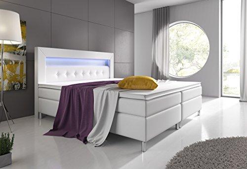 Wohnen-Luxus Boxspringbett 160x200 Weiß mit Topper LED Beleuchtung Hotelbett Topper Polsterbett Venedig