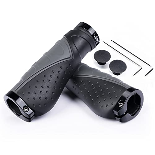 PRUNUS Bike Handlebar Grips, Aluminum Double Lock-on-Rubber Bike Handle Grips, Soft Non-Slip Ergonomic Bike Grips, for Mountain Bike, Mountain BMX.