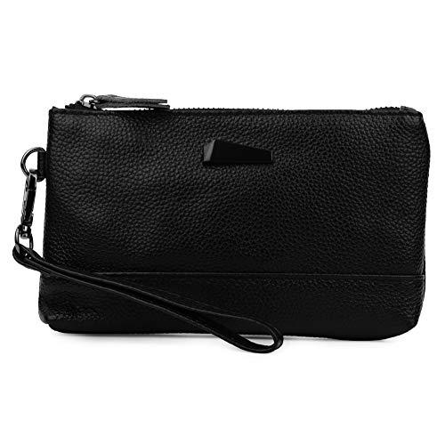 Damen Leder-Handtasche Clutch Handtasche Tasche für LG Stylo 4 Plus G7 V50 V35 ThinQ und iPhone XS Max - iPhone XR - 8 Plus - Motorola Moto Z4 Play - G6 Play - E5, S, schwarz