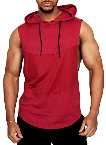 Men's Workout Hooded Muscle Tank Tops Gym Sleeveless Shirts(M,Red)