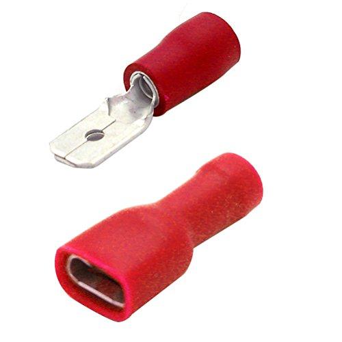 ROSENICE 100 pz maschio femmina giunzione rapida filo terminali cavo a crimpare connettori (rosso)