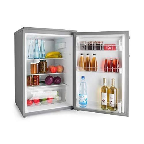 Klarstein Springfield Eco, A+++, 124L Kühlteil, stromsparender Kühlschrank ohne Gefrierfach, Edelstahl Design, 85 cm, Freistehend, Edelstahl Design, Inox