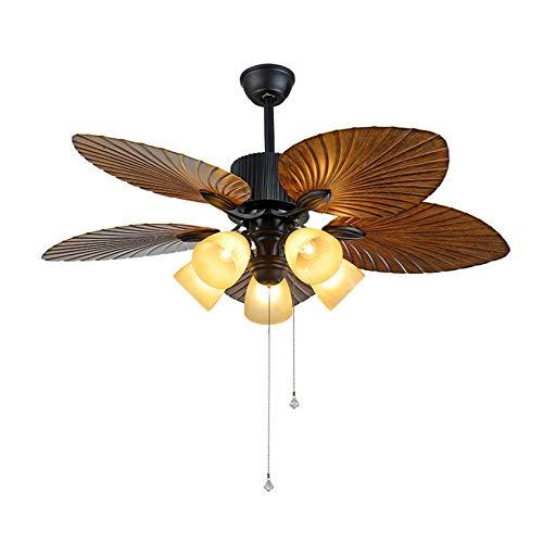 LFANH Lámpara de Techo con Ventilador silencioso, Ventiladores de Techo Retro con iluminación silenciosa con Control Remoto Ventilador de Madera de 48 Pulgadas E27 Lámpara de Ventilador de Techo