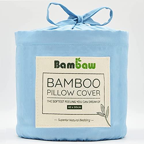 Bambaw Fundas de Almohada de Bambú   Tacto Suave y Fino   2 x Funda Almohada   Fundas Almohada Antiácaros   Tejido Transpirable   Pillow Case   Azul Claro - 40x80   Fundas de Cojín