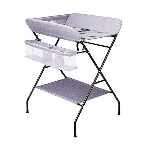 LNDDP Baby Changing Table Grey Portable with Non-Slip Safety Straps, Infant/Newborn Nursery Dressers for Small Spaces
