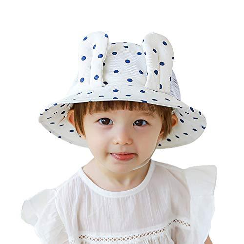 ZHANGYAN Sombrero de Sol para niños Baby Wide-Brimmed UPF 50+ Sun Sombrero de Sol, Malla Sombrero de Pescadores Transpirable (Color : White, Size : 46cm/18.1in 3-6 Months)