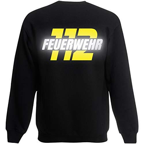 Shirt-Panda Herren Feuerwehr Sweatshirt · Feuerwehr 112 · Feuerwehrmann Sweater Bedruckt · Pullover für Feuerwehrleute · Druck auf Brust & Rücken · Unisex · Schwarz (Druck Gelb/Reflex) M