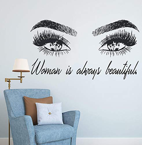 Femme Make Up Wall Sticker Eye Eyelashes Wall Decal Lashes Extensions Beauty Shop Decor Sourcils Brows Mural Beauty Gift-104x57cm