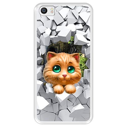 Hapdey Funda Transparente para [ Xiaomi Mi5 - Mi 5 ] diseño [ Gatito Gato Mirando Desde una Pared Rota ] Carcasa Silicona Flexible TPU