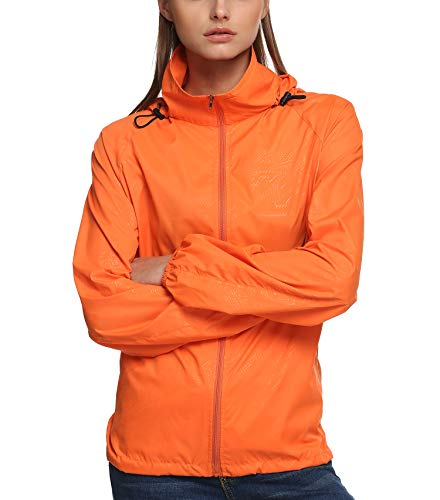 Zeagoo New fashion Waterproof Climbing Running Outdoor Hoodie Coat Sport Cycling Jacket, Orange, Large