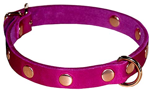 Süsses Nietenhalsband Halsfessel Halsband PINK Leder/SM Fetisch/Handarbeit