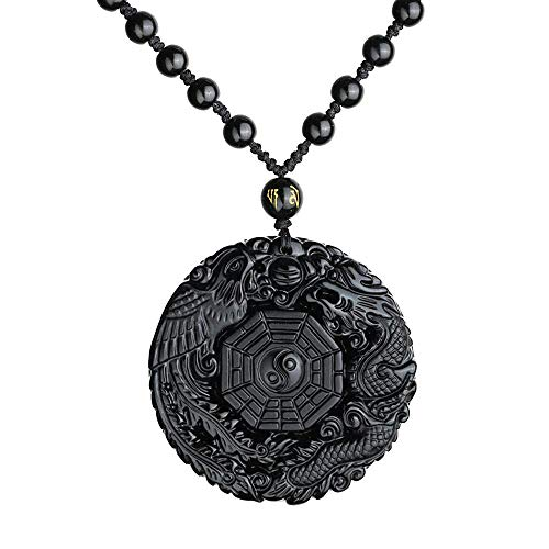 Purmy Obsidian Yin Yang Taichi Anhänger,Drache Und Phönix Amulett Anhänger für Frauen Männer