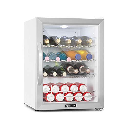 Klarstein Beersafe XL - Getränkekühlschrank, 60 Liter, C, 5 Kühlstufen: 3-10 °C, 42 dB, 2 flexible Metallböden, LED-Licht, Kühlschrank für Flaschen, Mini Bar, Edelstahl/weiß