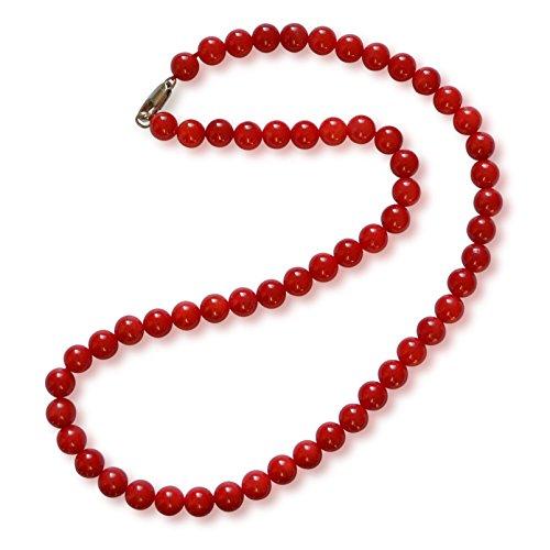 Vifaleno Collana di Corallo, Naturale, Rosso, Cerchio, 7mm