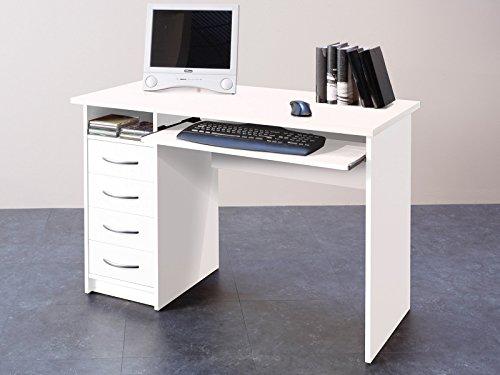 möbelando Schreibtisch Computertisch Bürotisch Arbeitstisch Tisch Büromöbel Taunton I Weiß