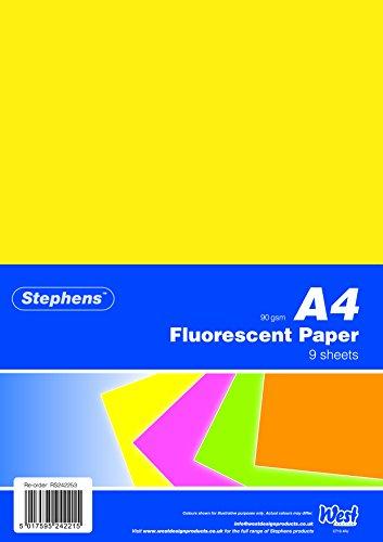 Stephens RS242253 Papier, sortierte farben, 9 Blatt Ideal für Kunst- und Bastelprojekte, neon
