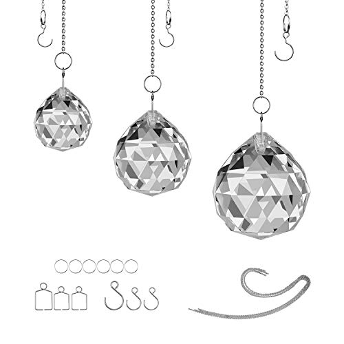 MerryNine Clear TOP K9 Crystal Prism Ball Pendant kit Suncatcher Rainbow Pendants Maker, Hanging Crystals Prisms with Beautiful Chain
