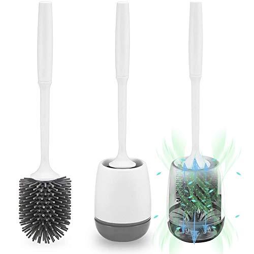 Klobürste Silikon, POPTEN WC Bürste mit Halter Wandmontage & Stehen Silikon Toilettenbürste Set mit Schnell Trocknendem Haltersatz für Badezimmer – Weiß/Glau