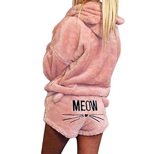 MEIHAOWEI Winter Damen Zweiteiler Schlafanzug Warme Nachtwäsche Nette Katze Muster Hoodies Shorts Outfit