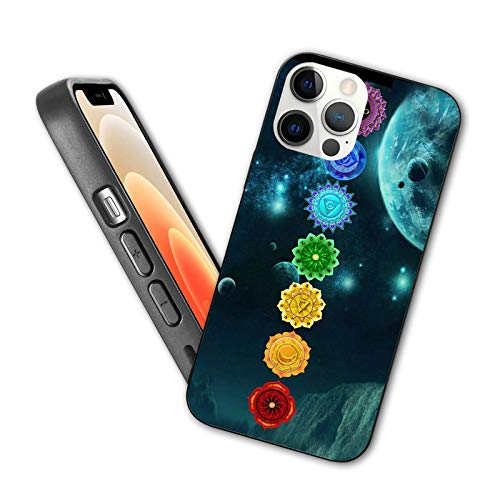Compatible with iPhone 12 Pro Max case New 2020 Mandala Chakra Yoga Protective Shockproof Cover with Soft TPU Bumper and Hard PC Back(6.7 inch)