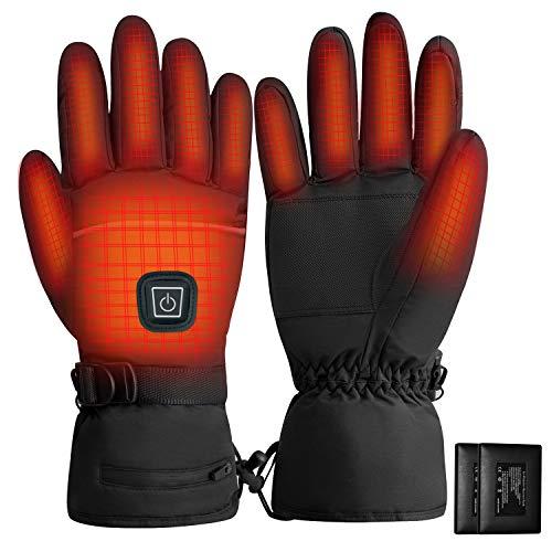 Rishaw Guanti Riscaldati Ricaricabili, 3,7 V 4000 mAh 3 modalità di Riscaldamento, Guanti Invernali Caldi Impermeabili Touch Screen, Adatti per Moto, Sci e Altre attività All'aperto(XL)