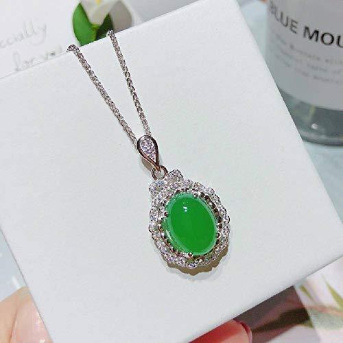 N\C Collar de Plata 925 Calcedonia Verde Conjunto de Mujer Cadena Día de la Madre