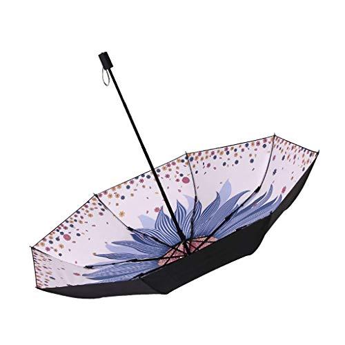 JIAJBG Paraguas Plegables de Peso Ligero de Acero 8 Costillas Colorido a Prueba de Viento, Sol/Lluvia Paraguas de Viaje con Revestimiento Pesado 210T Fácil de cargar/Rosado