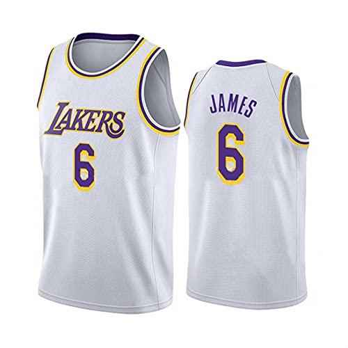 TINKOU Camiseta de Baloncesto clásica, Chaleco Lakers 6# Suave y Transpirable sin Mangas, Camiseta Deportiva para Adultos