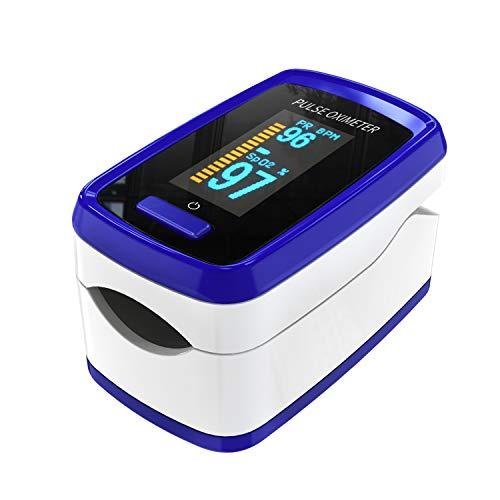 Pulsoximeter für Finger Sauerstoff-Messgerät Finger-Messgerät misst Sauerstoffsättigung Pulsfrequenz, Oximeter mit OLED-Display und Alarm-Funktion, Batterie-Betrieb