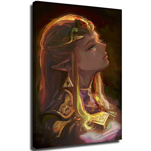 Pin on Legend of Zelda juego de belleza niña al aire libre arte de pared para decoración de la oficina en el hogar, estirada y lista para colgar, lona, Enmarcado, 18x24in.Medium