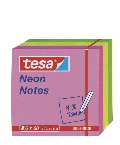 tesa Notes Haftnotizen, 6 x 80 Blatt, grün/gelb/pink, 7,5cm x 7,5cm