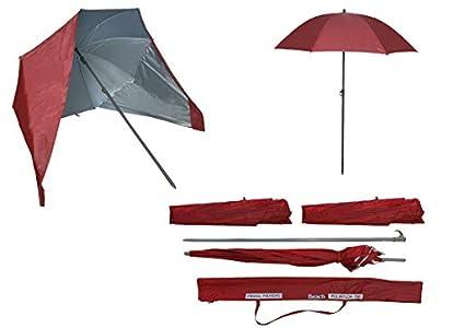 Sombrilla de Playa con Paneles Laterales Tipo Tienda/Paravientos, UPF+50 99% UV 180 CM (Rojo)
