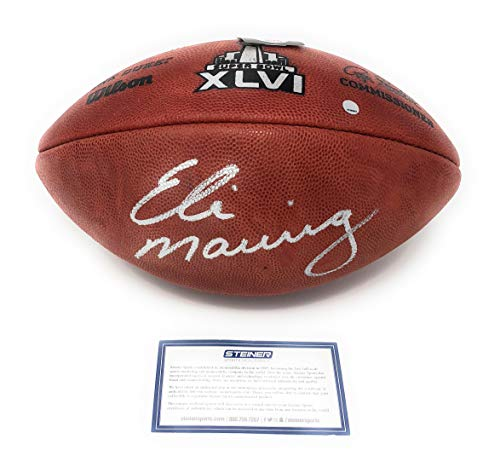 Eli Manning New York Giants Signed Autograph Authentic SB Super Bowl XLVI NFL Duke Football Steiner Sports Certified