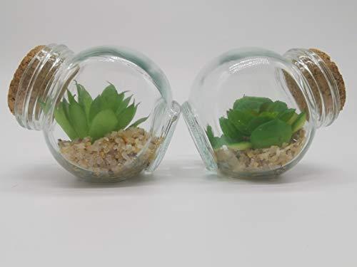 Planta Mini Suculentas Artificiais Potinho De Vidro - Unidade