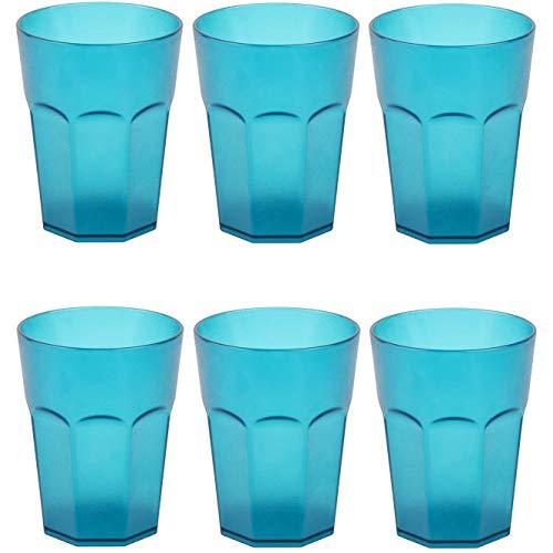 ENGELLAND 6X Kunststoffbecher Trinkbecher Party-Becher Plastik Trink-Gläser Mehrweg Coktailbecher Türkis 0,4l