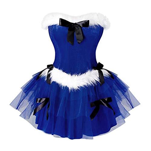 Transwen – Minivestido para mujer, de terciopelo, de malla, sexy, sin mangas, para Navidad, carnaval, Navidad, fiesta de noche, vestido de cóctel azul M-36/38/40