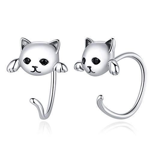 Qings Katze Ohrringe 925 Sterling Silber Hypoallergene Creolen Ohrringe für Empfindliche Ohren, Schmuck Geschenke für Frauen Mädchen Kinder