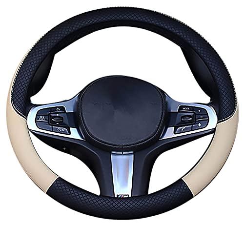 RoxNvm Funda Volante Cuero Universal, Cubierta del Volante, Cubierta de volante duradera de alta calidad, suave, cómoda, transpirable, antideslizante, talla M 37-38cm /14.5-15inch(Negro beige)
