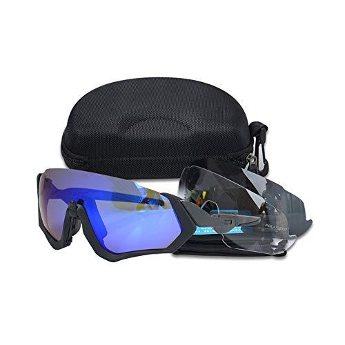 Multifunktionale Radsportbrille Mountainbike Windschutzscheibe Polarisierte Angelgläser Outdoor Sports Sonnenbrille (2 Stücke),Blau