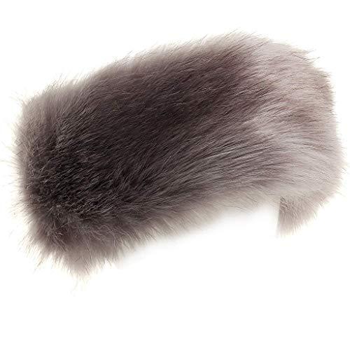 FHQHTH Kunstfell-Stirnband mit elastischer flauschiger Pelzmütze Winter Ohrwärmer Frauen Ohrenschützer Ski Kaltwetter-Kappen - Grau - Large