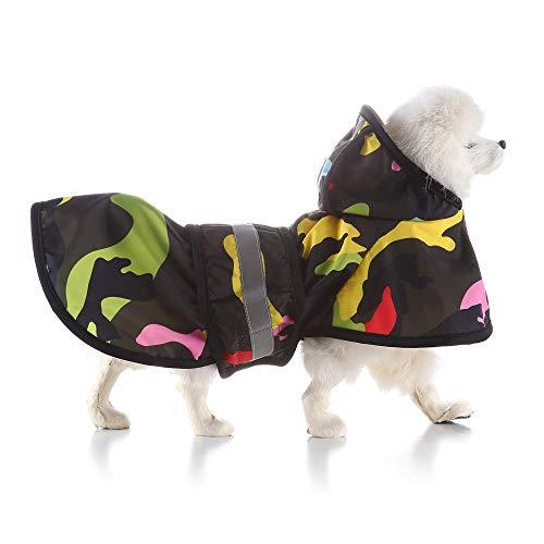 Aexit Haustier Hund Regen Kleidung Hund Regenmantel Poncho Kleiner und mittlerer Hund Verstellbarer Kordelzug Schwarz-L