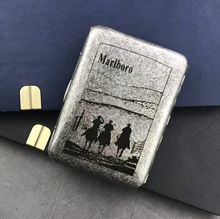 XIAOXIA 16 cajas de cigarrillos talladas Marlboro portátil clip de cigarrillo creativo plata antigua doble abierto cobre puro
