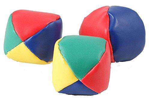 Jonglierbälle-Set aus Kunstleder, 3-tlg., ø 6,8 cm,blau/grün/rot/gelb