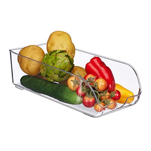 Relaxdays Kühlschrank Organizer, Lebensmittel Aufbewahrung, HBT: 10 x 16 x 35 cm, Kühlschrankbox mit Griff, transparent