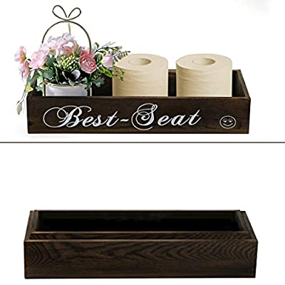 Best Seat Bathroom Decor Box, Farmhouse Wooden Bathroom Box, Wooden Rustic Toilet Paper Holder, Funny Home Decor Box for Bathroom, Kitchen, Table and Counter 2 Pack(2 IN1)
