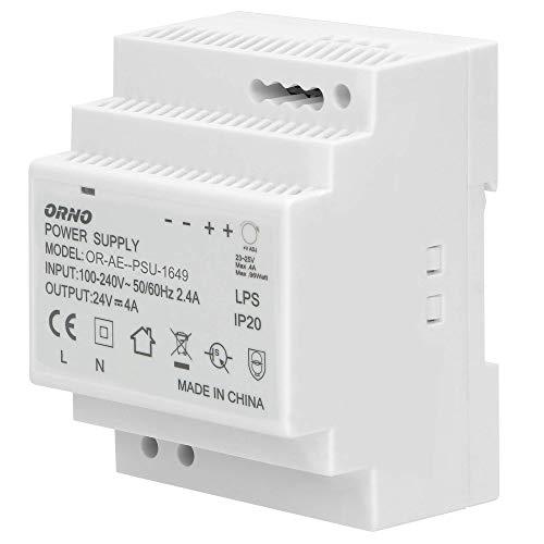 ORNO PSU-1649 Transformador para carril DIN 24VDC, 4A, 100W (4 módulos)