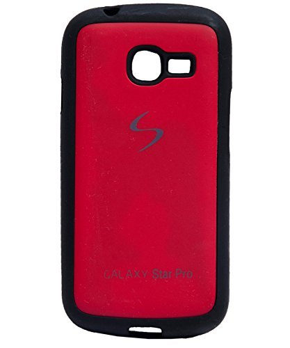 iCandy Black Boarder Leather Finish Soft Back Cover for Samsung Galaxy Star Pro S7260 / S7262 - RED